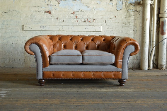 Unique British Handmade Vintage Rustic Tan Leather with Dark Grey Wool 3  Seater Chesterfield Sofa Couch - Full Fibre Cushion Seat