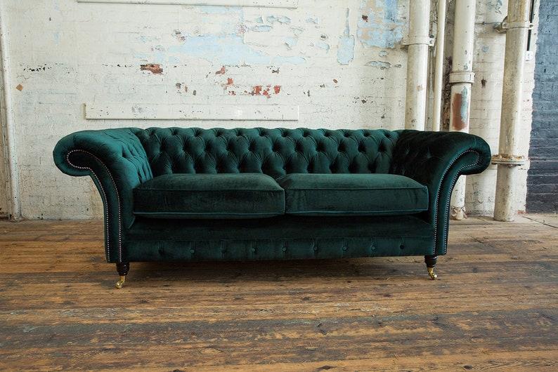 Unique British Handmade Velvet 3 Seater Chesterfield Sofa Etsy