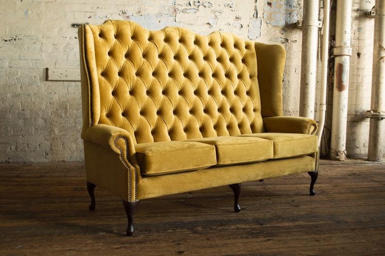 British Handmade Mustard Velvet 3 Seater High Back Etsy