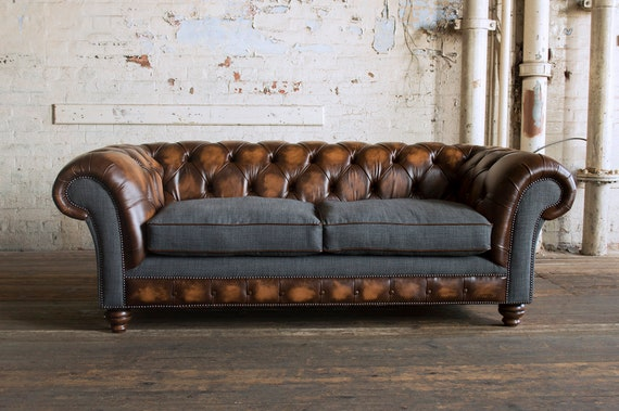Unique British Handmade Rustic Tan Leather & Grey Wool 3 Seater  Chesterfield Sofa - Reflex Cushion Seat