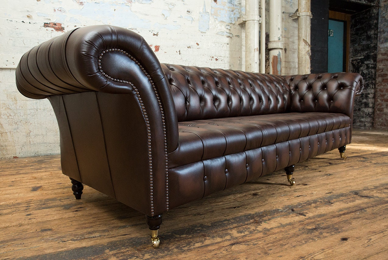 Handmade Large 4 Seater Antique Brown Leather Chesterfield Sofa