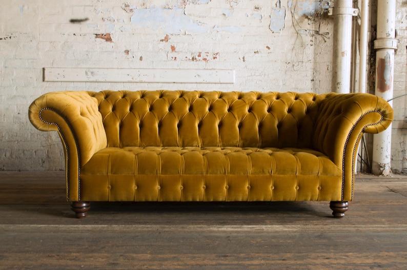 Handmade Mustard Gold Velvet 3 Seater Chesterfield Sofa Etsy