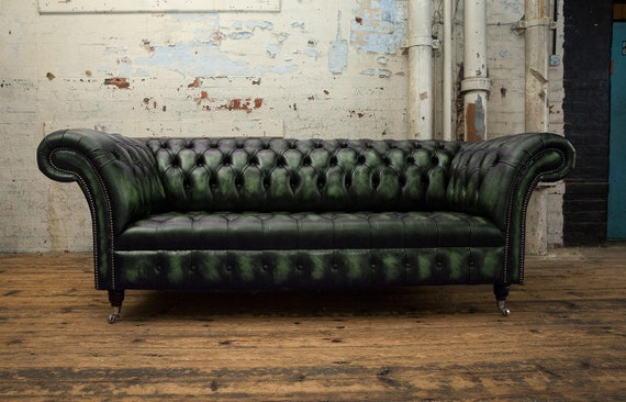 Astonishing Handmade 3 Seater Distressed Antique Green Leather Chesterfield Sofa Gmtry Best Dining Table And Chair Ideas Images Gmtryco