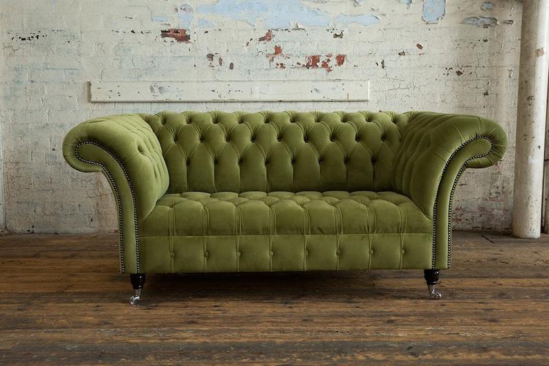 British Handmade Soft Green Velvet 2 Seater Chesterfield Sofa