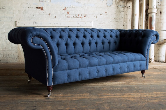 Handmade Navy Herringbone Wool 3 Seater Chesterfield Sofa