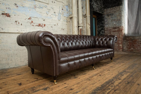 Pleasant Handmade Large 4 Seater Smoke Brown Leather Chesterfield Sofa Pabps2019 Chair Design Images Pabps2019Com