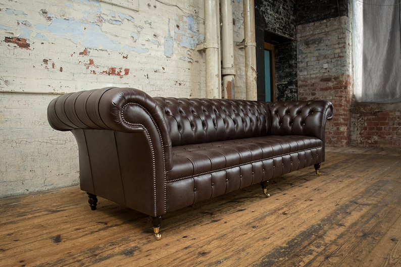 Handmade Large 4 Seater Smoke Brown Leather Chesterfield Sofa