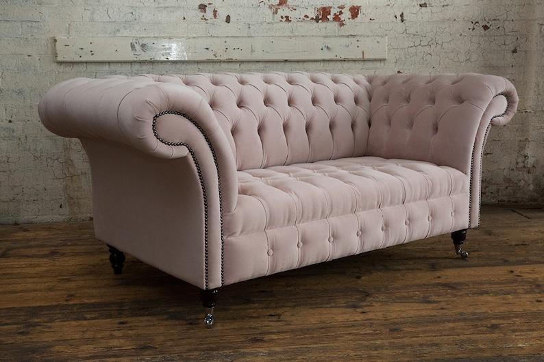 British Handmade Soft Pink Velvet 2 Seater Chesterfield Sofa Etsy