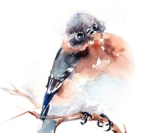 Blue Bird Art Print, Bird Watercolor Painting art, bird wall art, minimalist bird, modern home decor art print of bird