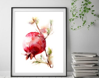 Pomegranate Fine Art Print, Watercolor Painting Print, Giclee print of red pomegranate painting, Kitchen wall decor, red fruit print