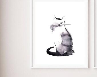 Cat minimalist fine art print, black and white watercolor painting art, cat art, cat minimalist modern wall art print, cat illustration