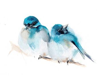 Blue birds couple fine art print, bird watercolor painting art, pair of birds watercolor print, two birds wall art print