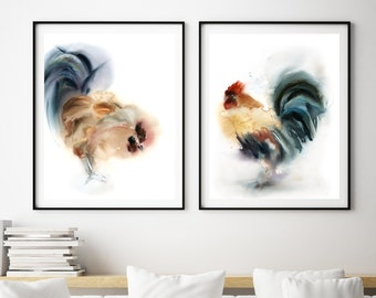 Rooster Set of 2 Art Prints, Rooster watercolor painting print, Rooster Art, Wall Art Prints Set