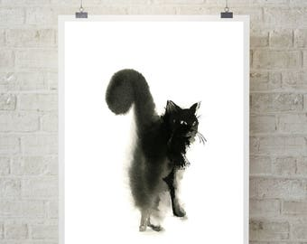 Cat Minimalist Art Print, Cat Watercolor Painting Art Print, Black and White Cat Art, Cat minimalist wall art print