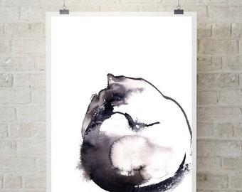 Sleeping cat fine art print, minimalist cat watercolor painting art, cat art, modern minimalist cat print, cat wall art print