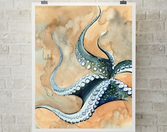 Octopus fine art print, watercolor painting of octopus, sea creatures art print, sea life wall art print