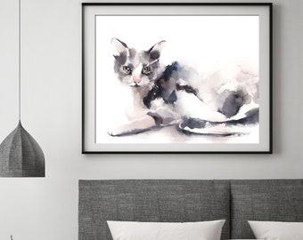 Grey cat fine art print, cat watercolor painting art, cat modern wall art, giclee print of cat by CanotStop