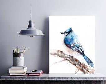Blue Jay Bird Art Print, bird watercolor painting art, bird art, blue bird modern wall art print, watercolor print of bird