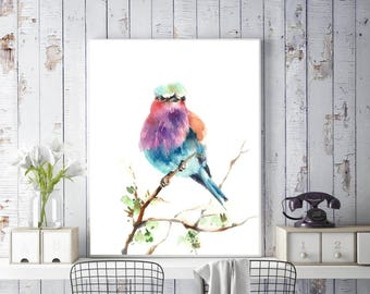 Lilac bird art print, colorful bird watercolor painting print, Bird Art, Bird Wall art Print, Bird Watercolor Print