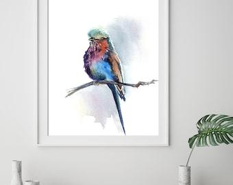 Lilac Bird Art Print, Bird Watercolor Painting Print, Bird Art, Colorful Lilac Tanager Bird on a branch, Bird Wall Fine Art Print