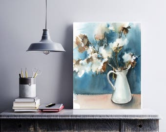 Cotton in a vase art print, watercolor print, still life watercolor painting print, turquoise and white modern botanical wall art print