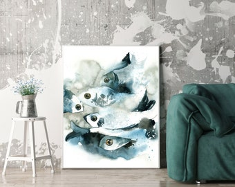Fishes fine art print, Sea life watercolor painting art, print of fishes, sea creatures, nautical wall art print
