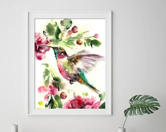 Hummingbird art print, flying hummingbird watercolor painting print, pink green print, bird art, bird wall art print