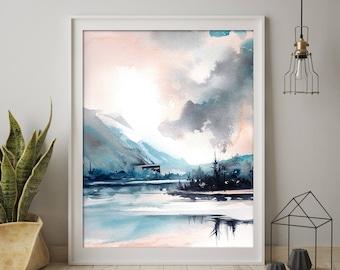 Modern landscape art print, nature watercolor painting art, abstract realism nature wall art print, landscape blue giclee print