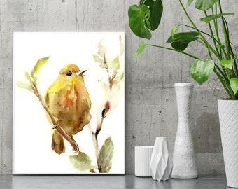 Yellow Warbler bird fine art print, watercolor painting of bird, bird art, yellow bird wall art print
