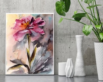 Pink Peony Fine Art Print, Flower Botanical Watercolor Painting Art, Flower Watercolor Print, Pink botanical wall art print