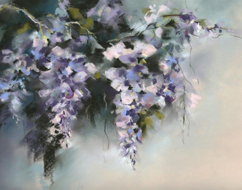 Impression dart de glycines fleurs mauve pastel sec peinture | Etsy