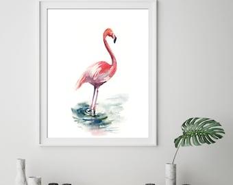 Flamingo fine art print, flamingo watercolor painting art, bird print, flamingo art, pink flamingo wall art print