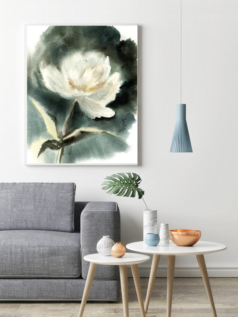 Whimsical Floral Wall Art Print Flower Botanical White Dark Green Colors Watercolor Print White Peony Art Print