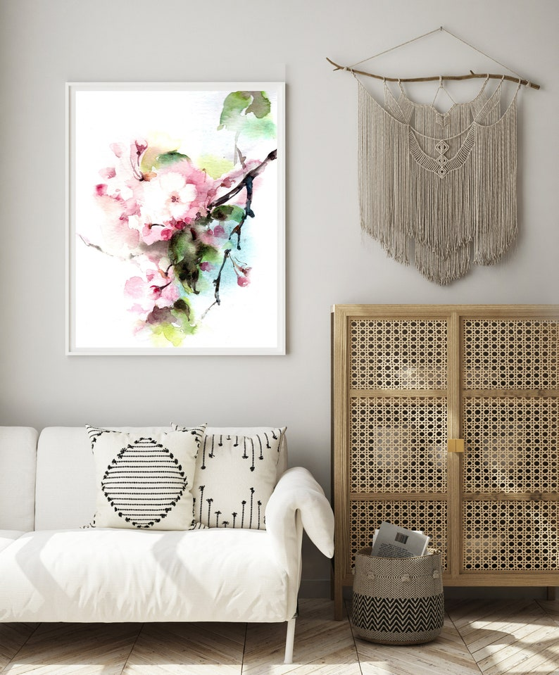 Pink Flowers Painting Art Print Cherry Blossoms Watercolor image 0