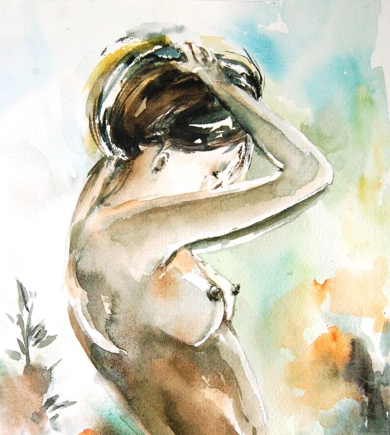 Erotic Nudity Painting Original Watercolor Adult Art