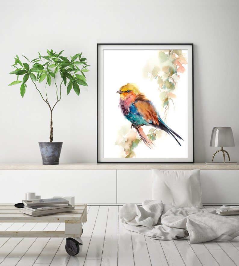 Lilac Tanager Art Print Poster of Bird Wall Fine Art Print Decor Kids Room Interior Art Colorful Bird Loose Style Watercolor Painting