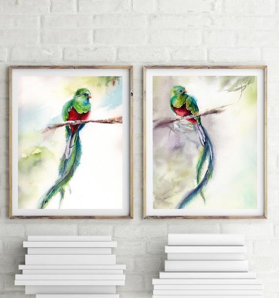 98a987e9efa Quetzal birds art prints set 2 bird art prints green red