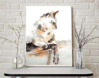 Cat fine art print, watercolor painting print, cat art, cat painting art, cat wall art print