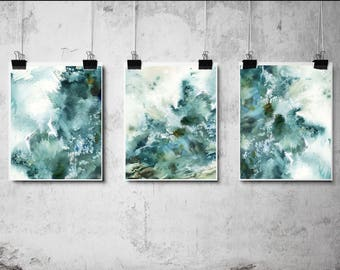 Abstract Nautical Prints Set,  Set of 3 Fine Art Prints, Watercolor Prints, Emerald Green, Abstract sea wave, Abstract Modern Wall Art