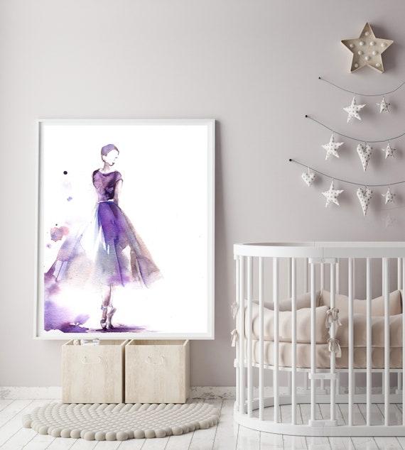 Minimalistische lila Ballerina Kunstdruck, Aquarell Malerei lose Stil Kunst Ballett Tanz Wand Fine Art Print Ballett Studio Kindergarten Wandkunst