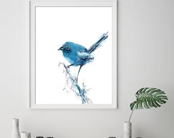 Minimalist blue bird fine art print, bird watercolor painting print, bird art, minimalist bird wall art print