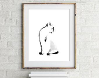 Minimalist cat art print, giclee print from original watercolor painting, black and white cat art, modern wall art print of cat