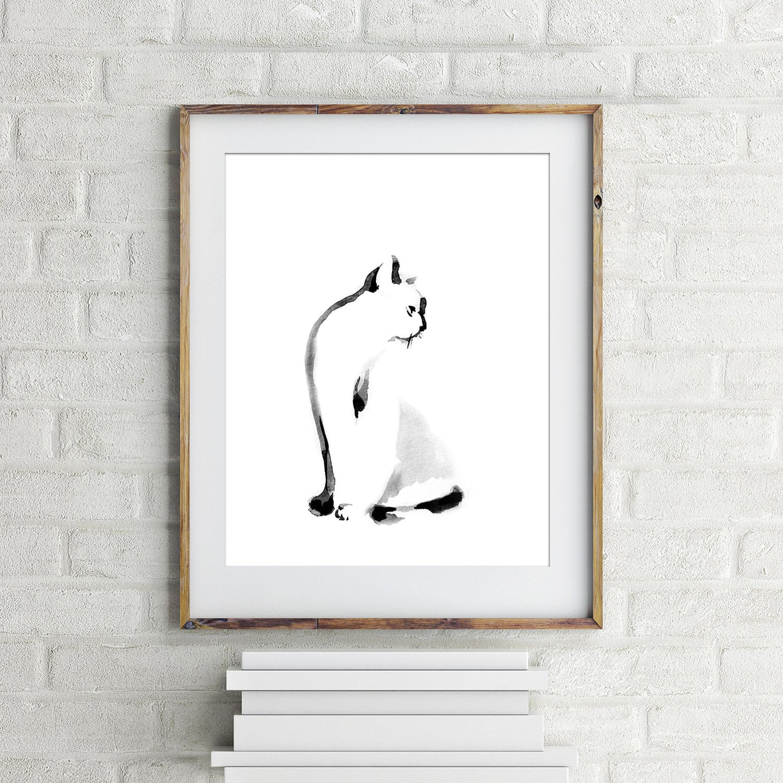 Minimalistische Katze Kunstdruck Giclée-Druck von   Etsy
