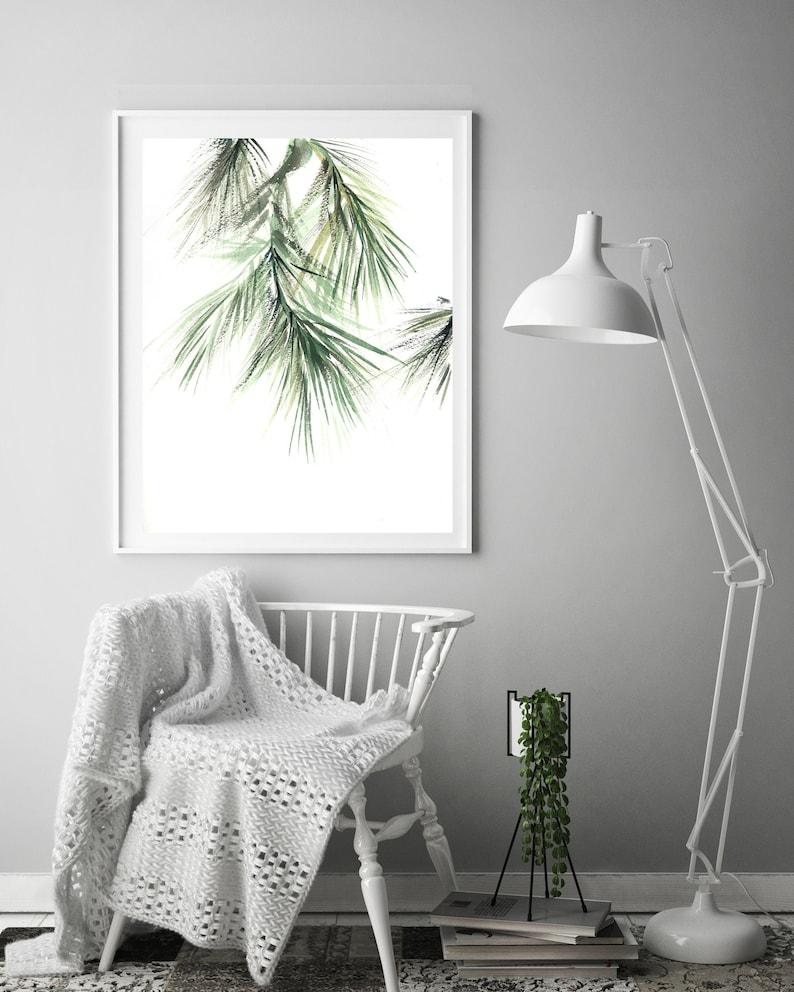 Minimalist Pine Tree: Pine Tree Branch Minimalist Art Print Botanical Watercolor