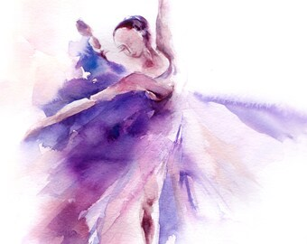 Art Print of Ballerina in Purple, Watercolor painting print, ballet wall art, dance home decor purple ballerina print