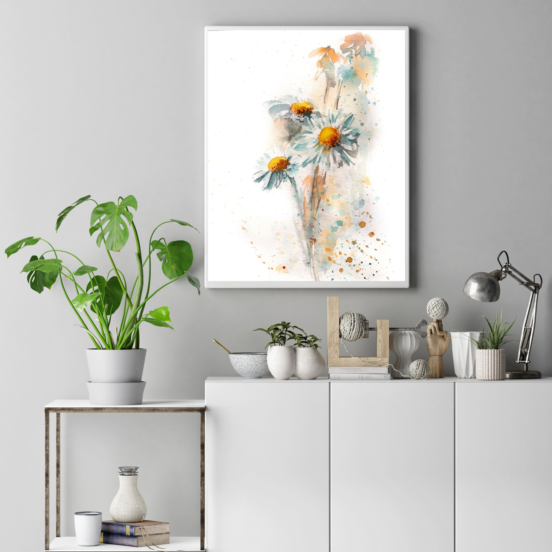 Gänseblümchen-Kunstdruck Gänseblümchen Blumen Aquarell Kunst   Etsy