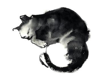 Minimalist Cat Art Print, Cat giclee print, black and white modern cat art print, watercolor painting art, minimalist cat art