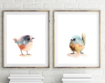 Art prints set of birds, little minimalist bird print, set of 2 fine art prints, watercolor print, bird art, nursery home decor wall art