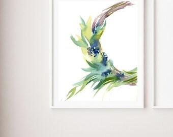 Easter wreath fine art print, blue and green art print, watercolor painting art, green minimalist modern wall art print