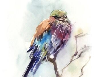 Lilac Bird Art Print, Bird Watercolor Painting Art, Bird Art, Colorful Lilac Tanager Bird on a branch, Bird Wall Giclee Print